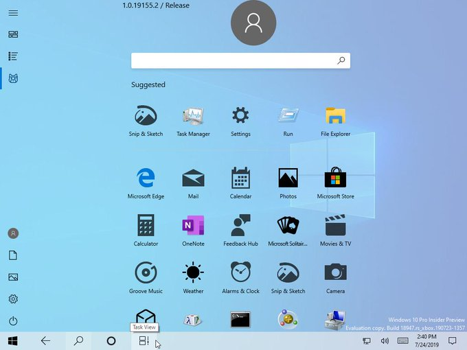 This is the first look of how Windows 10 New Start Menu Tablet View