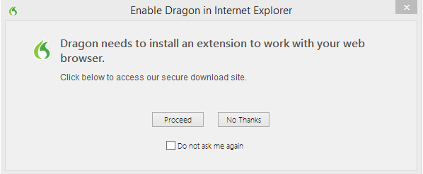 Enable Dragon in Internet Explorer