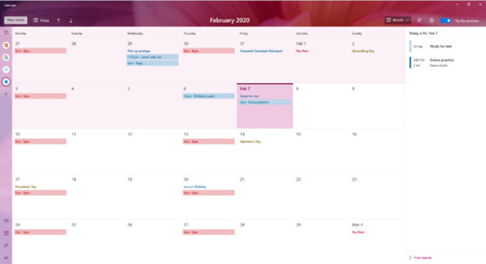 Microsoft Windows 10 Calendar App Preview for Windows 10 users with new Calendar and Graphics features arrived