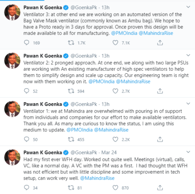 M&M Managing Director Pawan Goenka response on Twitter about the company's two-pronged approach to beat the shortable of Ambu Bag - the ventilators.