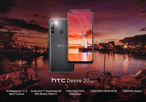 HTC Desire 20 Pro is a high-end smartphone runs on Android 10 and features a 6.5-inch full-HD+ (1,080x2,340 pixels) hole-punch display with 19.5:9 aspect ratio.