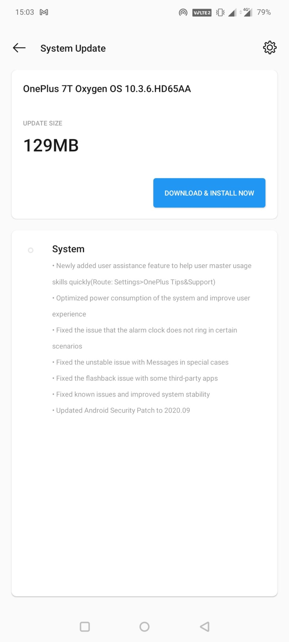 OxygenOS 10.0.14 and 10.3.6 (India)update for the OnePlus 7T phones